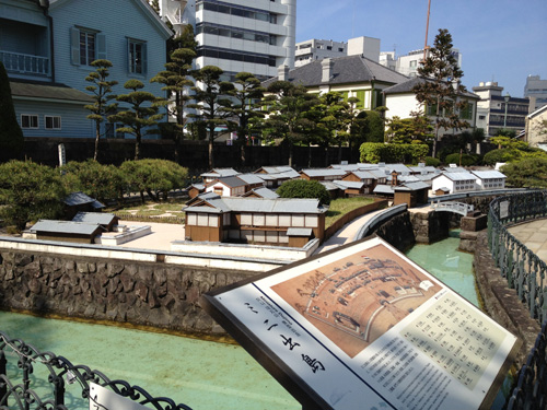 A scale model of Dejima which is on display in Nagasaki for tourists