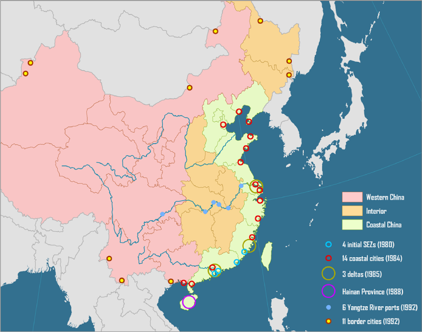 ‍A map of China's SEZs by Hofstra University