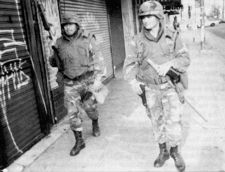 National guards patrolling after LA riots - 1992