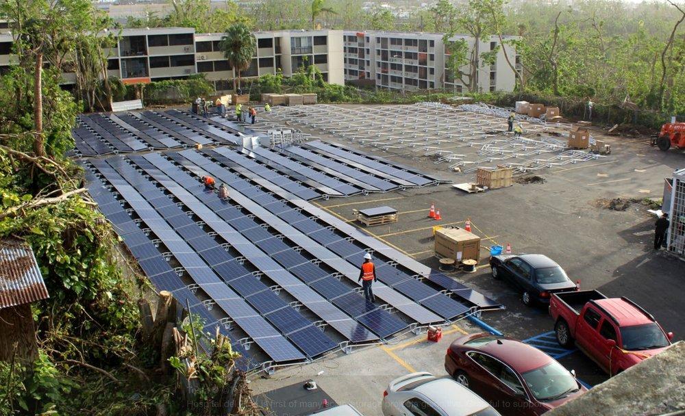 Solar panels being implemented in the powering of San Juan children's hospital; Image via Tesla's twitter profile