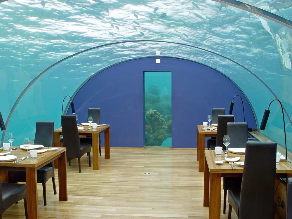 Ithaa restaurant in the Maldives. Credit: Wikimedia commons