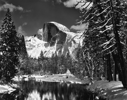 Half Dome, Merced River, Winter by Ansel Adams (http://shop.anseladams.com/Half_Dome_Merced_River_Winter_p/5010113-u.htm)