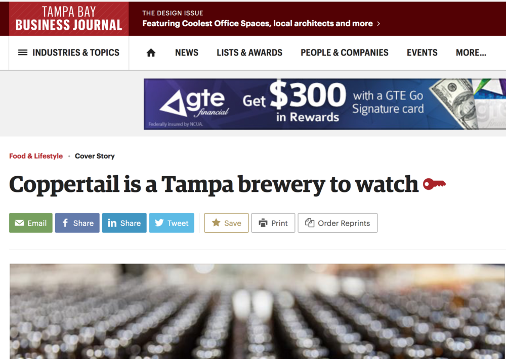 Coppertail Brewing Co. in Tampa Bay Business Journal