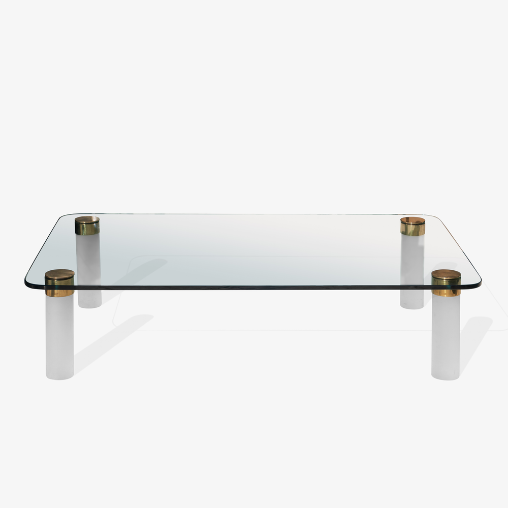 Large Glass Cocktail Table With Frosted Lucite Legs And Brass Hardware By Pace Collection Object Refinery
