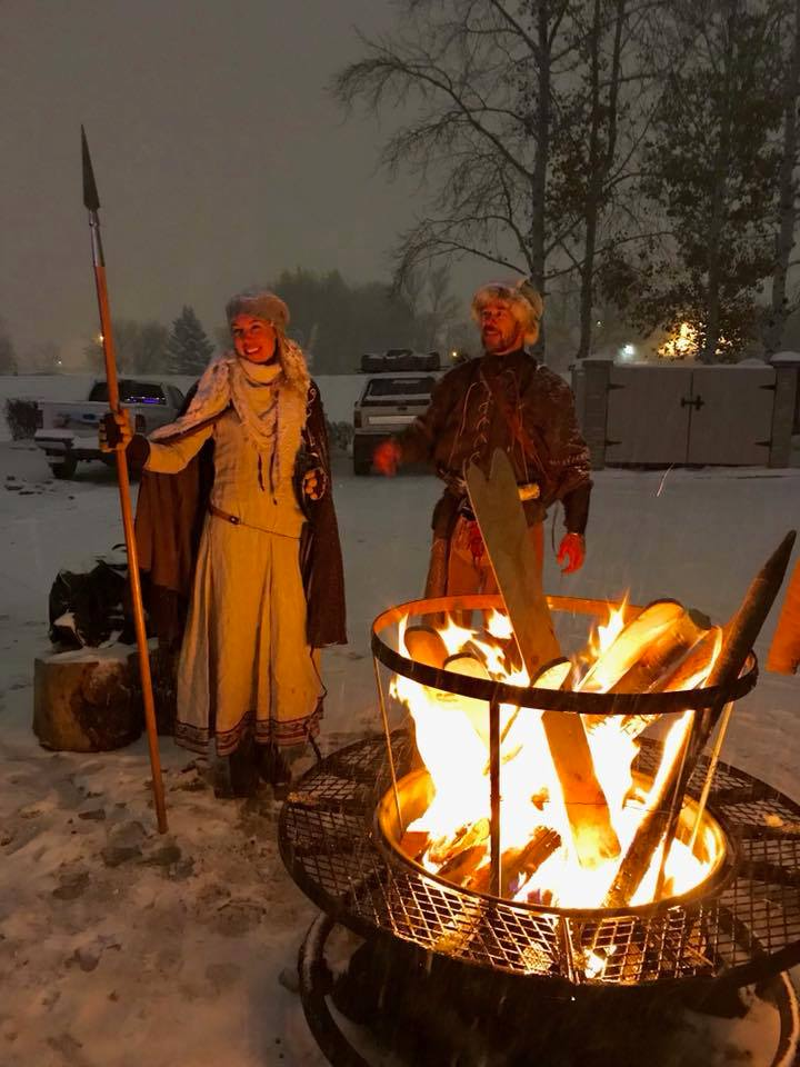 Skadi and Ullr are enjoying the burning of effigy skis.