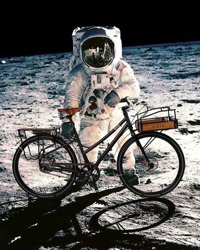 A woman's bike on the moon.  Why?  Happy International Women's Day..... #oneworldbikes  #womenwhoride #internationalwomensday #bikes #women #astronaut @spacex #rocketwoman