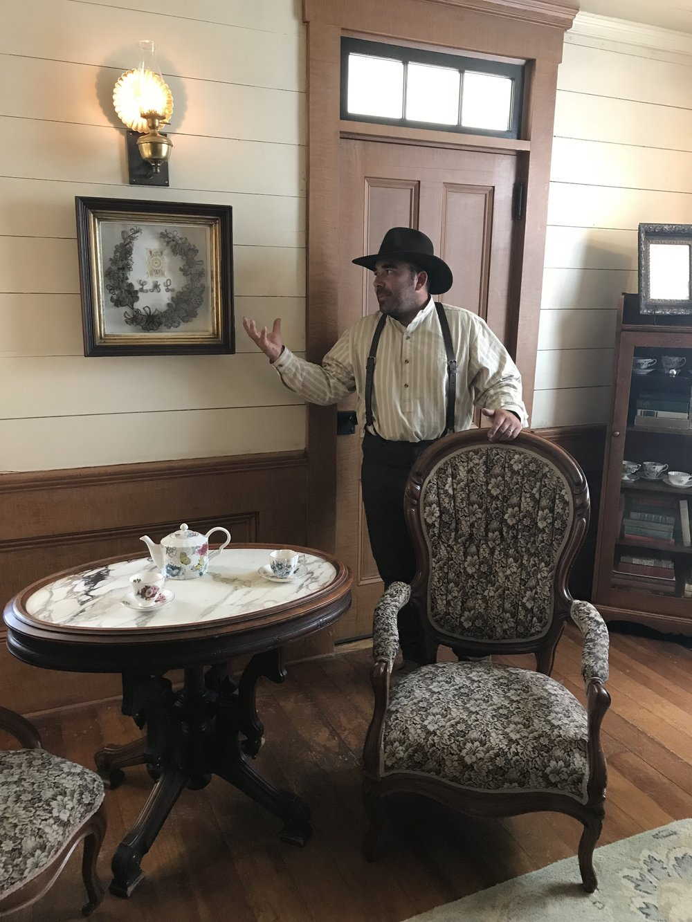 Tony Silva - Wolf Creek Park Ranger giving a tour. A view of the Women's Parlor.