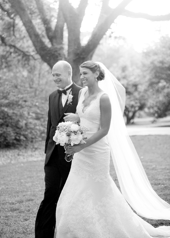 A father walking is daughter down the isle at Legare Waring House.