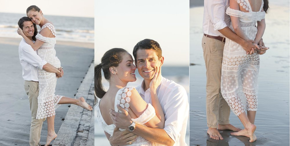 Engaged couple on Folly Beach