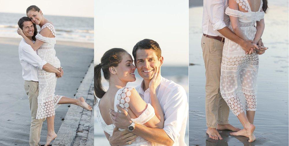 Engaged couple on Folly Beach