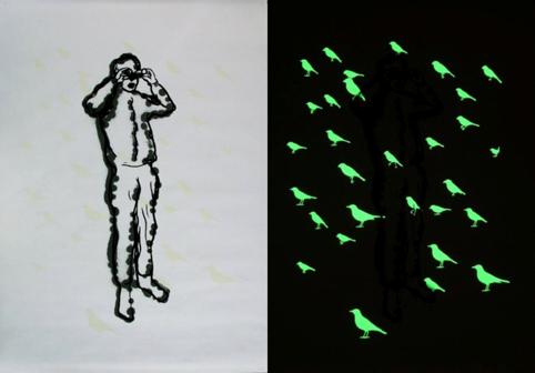 Alphons ter Avest: Vogelaar, dag en nacht, 1998, 91 x 123 cm, zeefdruk, fosforinkt, De Groen Fine Art Collection.