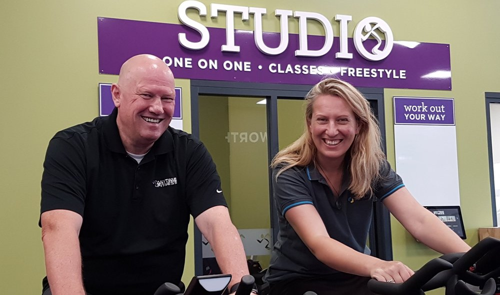 Richard Ball puts Diabetes NZ's business development coordinator Jo Chapman through her paces at an Anytime Fitness gym.