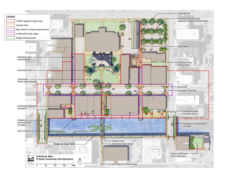 Pulaski Downtown Plan - Illustrative Map by Hill Studio