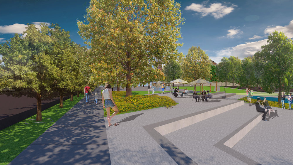 Bedford Downtown Plan - Town Square design by Hill Studio