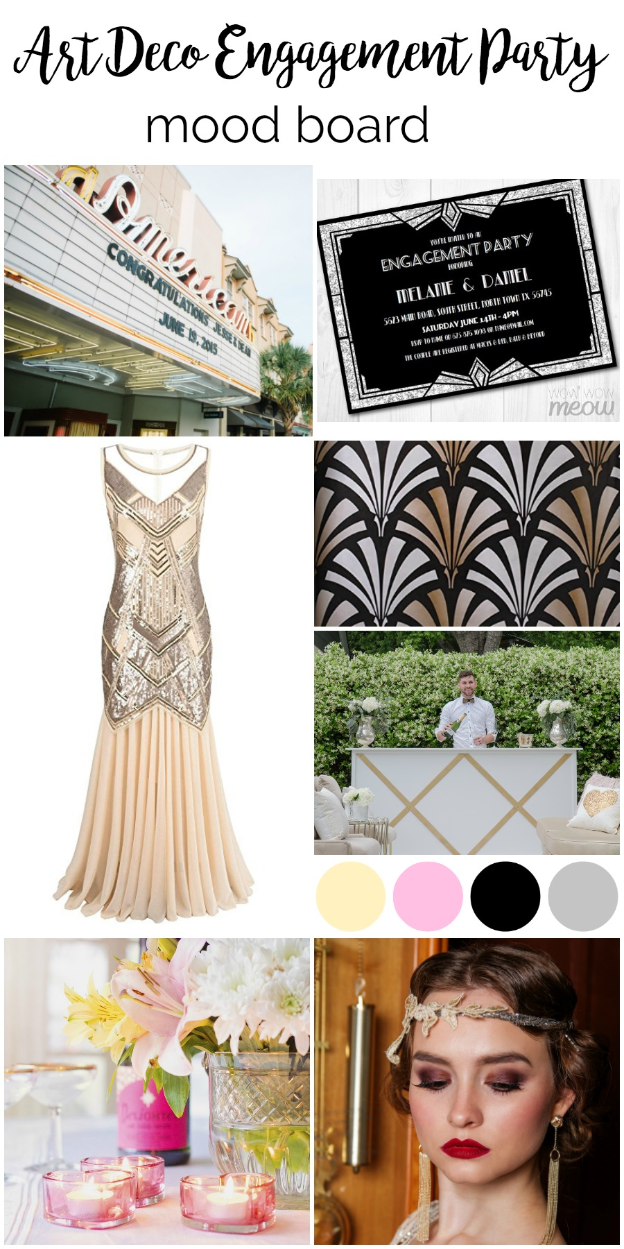 Mood Board: Art Deco Vintage Engagement Party | Palmetto State Weddings