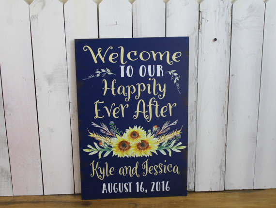 Sunflower Wedding Signage via Etsy