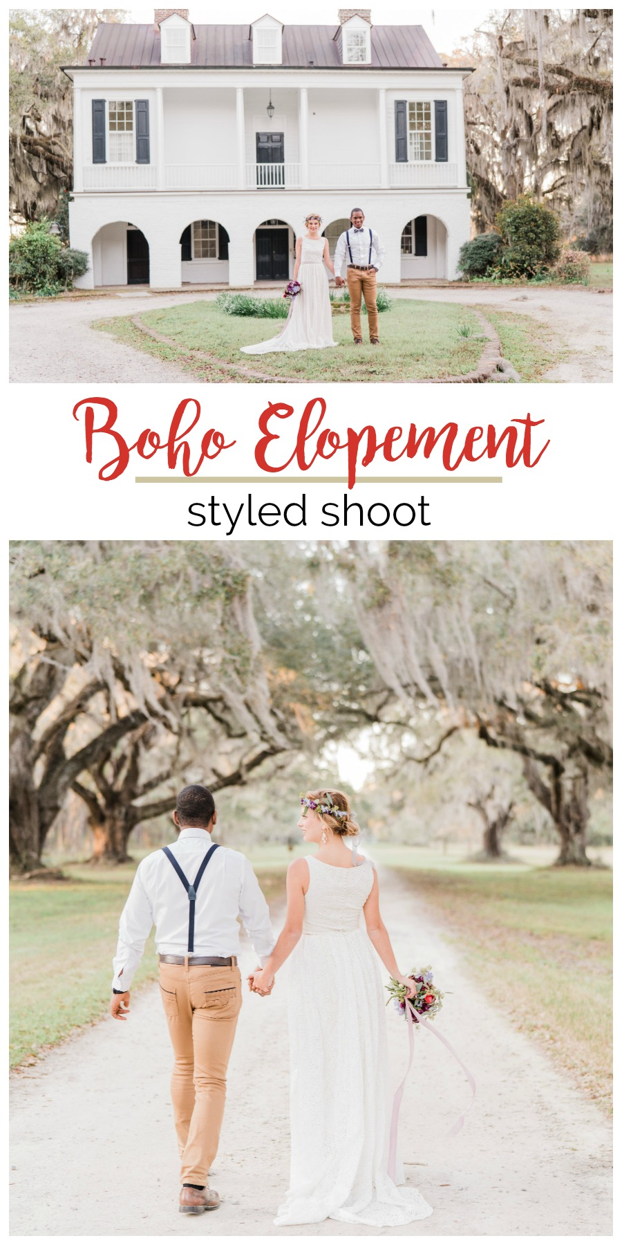 Wedding Inspiration: Boho Elopement Styled Shoot at Grove Plantation House | Palmetto State Weddings | Photos by Kate Dye Photography