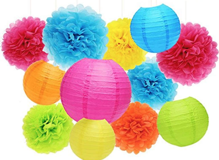 Colorful paper poms | via  Amazon