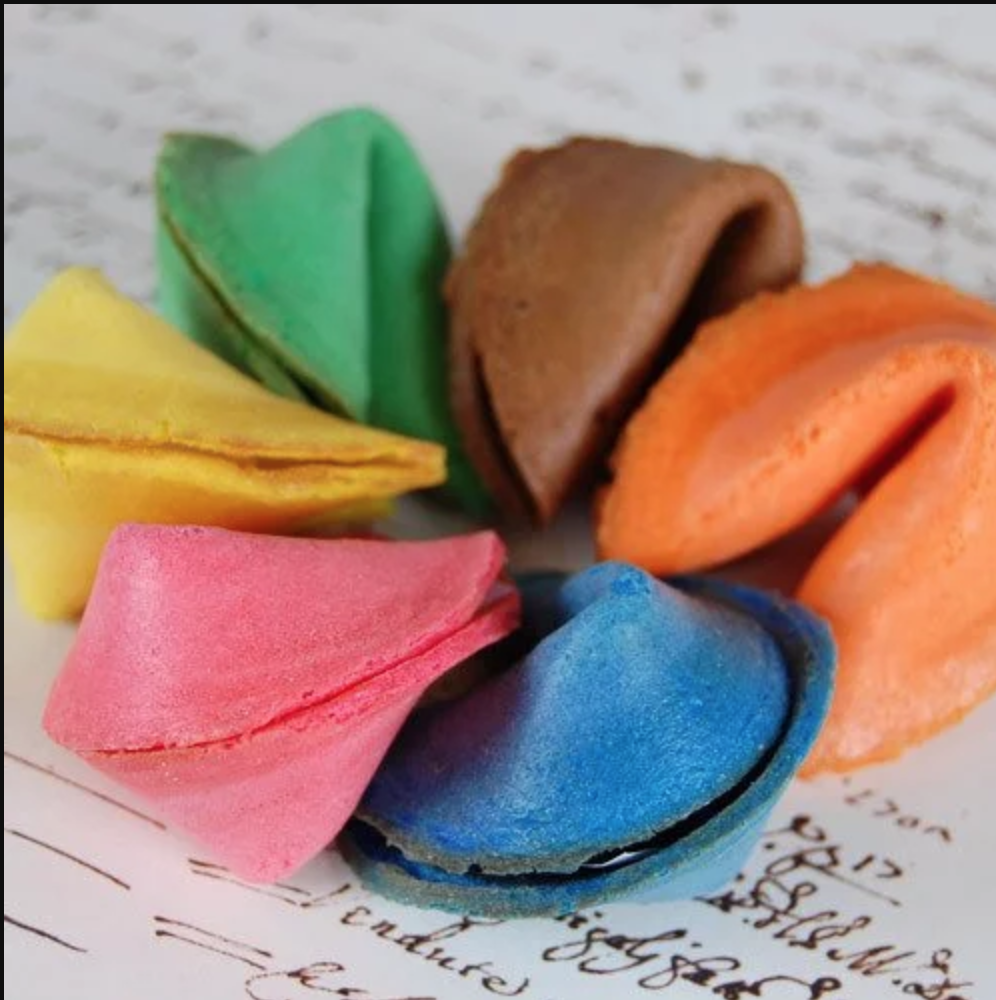 custom color fortune cookie favors | via  Beau-coup