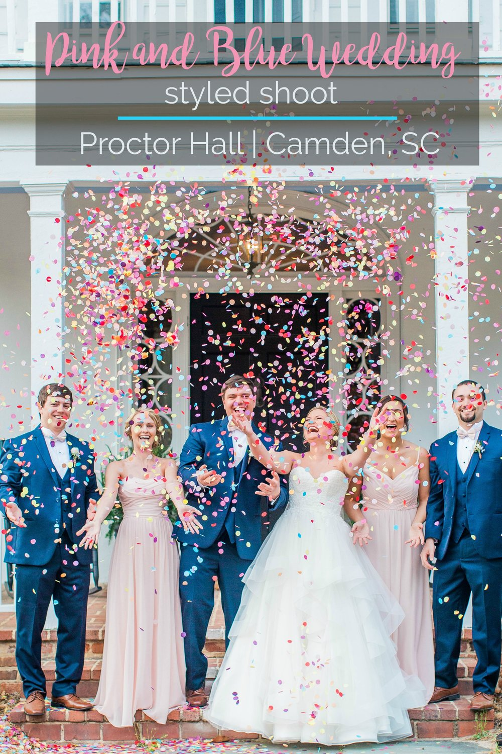 Wedding Inspiration: Pink and Blue Wedding Styled Shoot at Proctor Hall, Camden, South Carolina | Palmetto State Weddings | Photography by Heather Proctor Photography