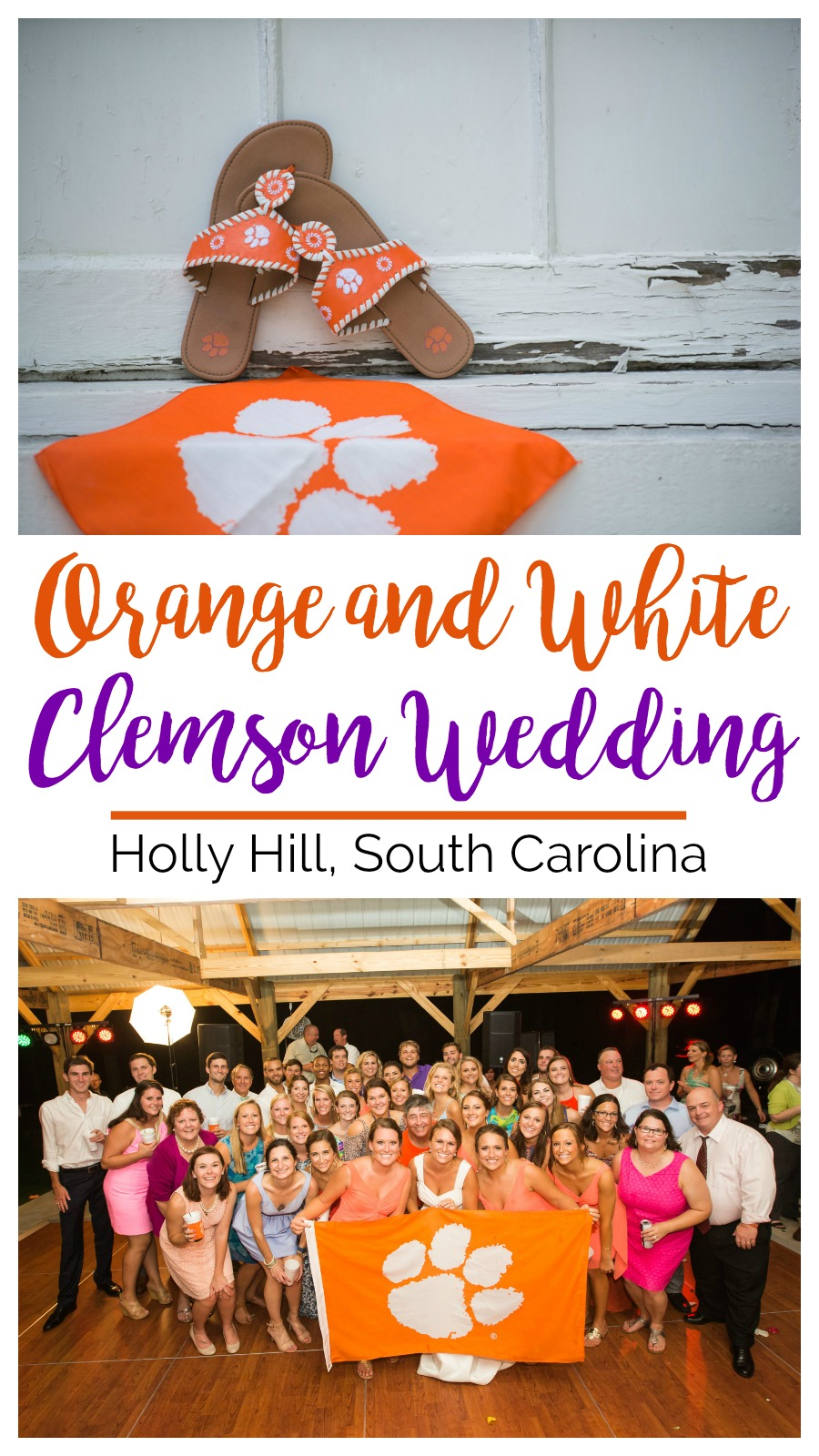 Sara and Dean: Orange and White Clemson Themed Wedding | Palmetto State Weddings | football wedding | tractor wedding | rustic barn wedding