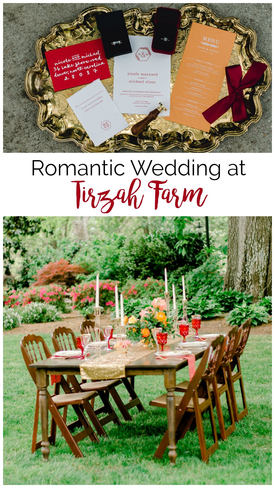 Burgundy and Gold Romantic Styled Shoot at Tirzah Farm | Palmetto State Weddings | Jessica Drew Photography | Southern farm wedding | bridal pantsuit | modern wedding inspiration
