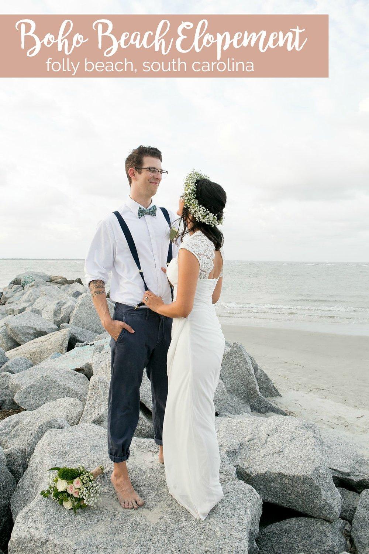 Small Beach Wedding Styled Shoot at Folly Beach, South Carolina | Palmetto State Weddings | South Carolina weddings | boho beach wedding inspiration | flower crowns for beach weddings