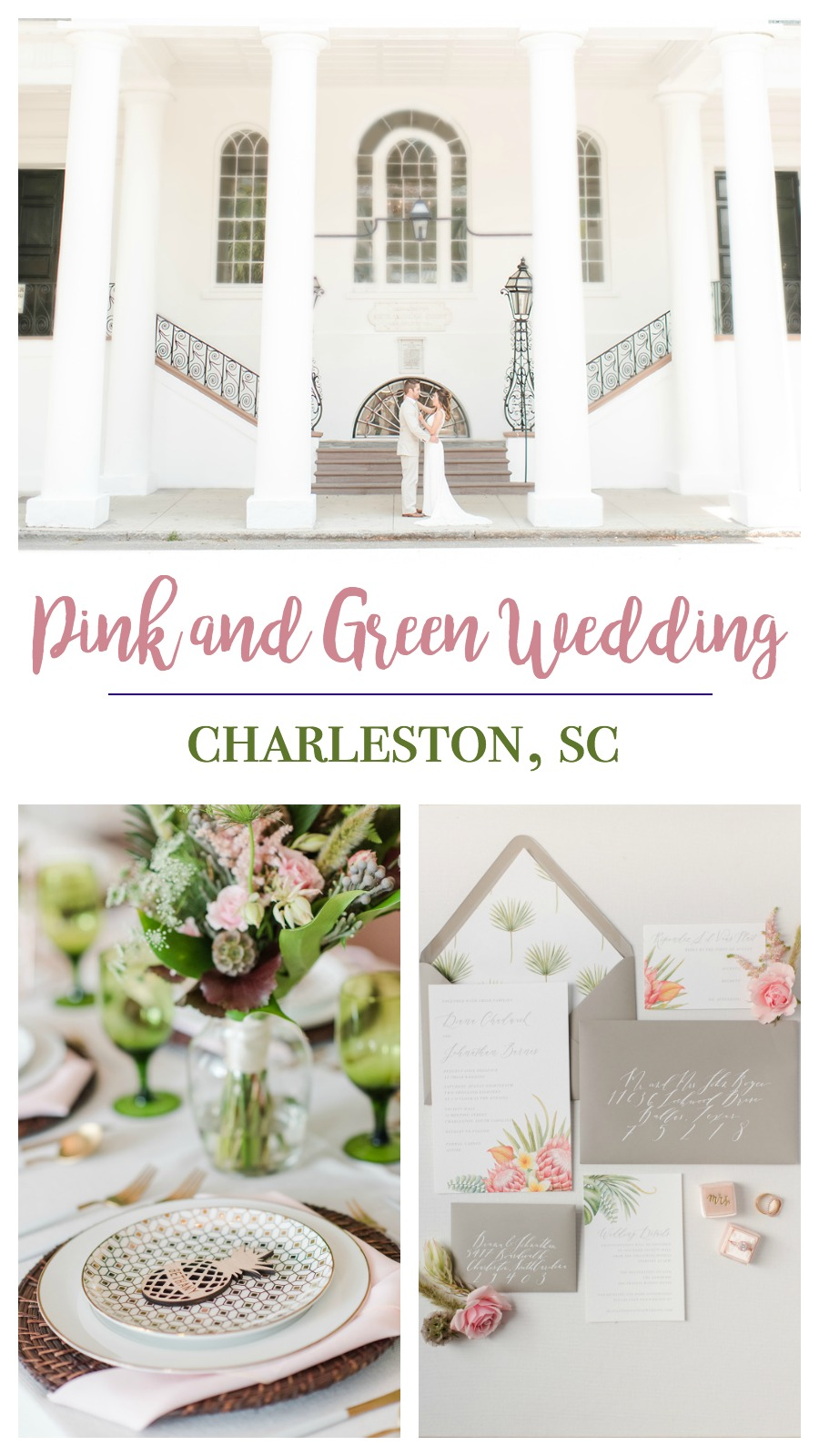 Pastel Romance Styled Shoot at the South Carolina Society Hall, Charleston, South Carolina | Palmetto State Weddings | Candi Leonard Photography | pink and green wedding inspiration | Southern wedding | tropical pineapple wedding inspiration