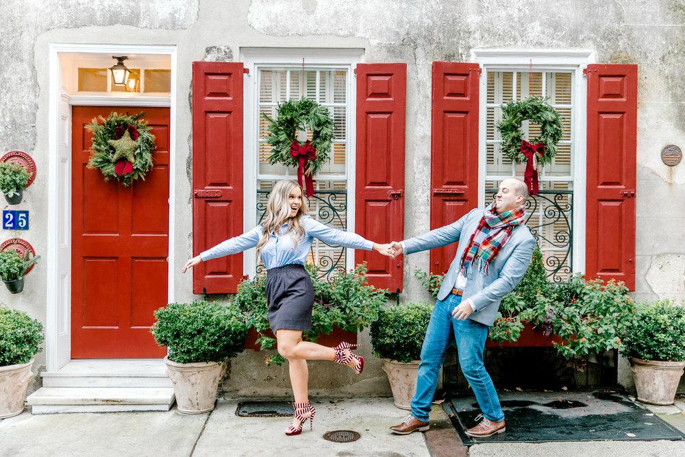 Megan + John: A Festive Christmas Engagement in Downtown Charleston | Palmetto State Weddings