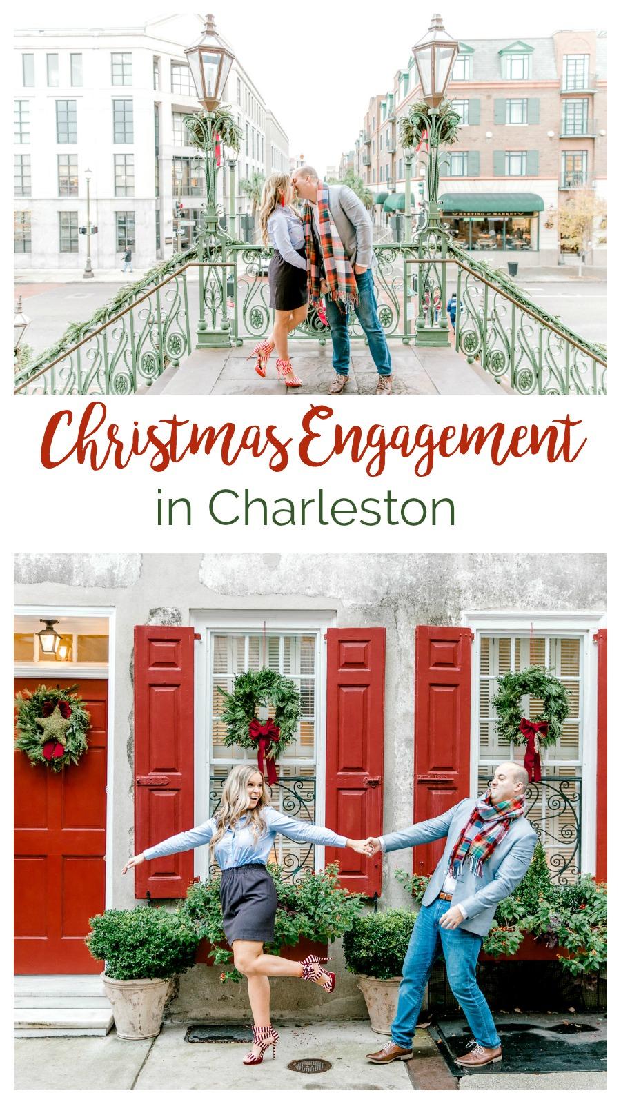 Megan and John: A Festive Christmas Engagement in Downtown Charleston | Palmetto State Weddings | Emma Lili Photography | Christmas couple photos | Charleston engagement photography | fun Christmas pictures