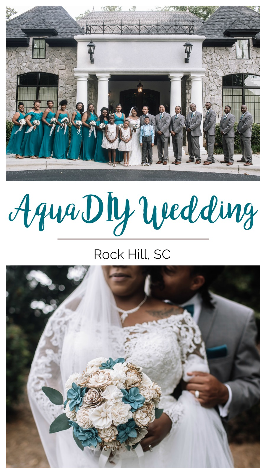 Venah and Louis: Joyous Blended Family Wedding at Breakfield at Riverwalk, Rock Hill, South Carolina | Palmetto State Weddings | Amanda Moss Photography | classic Southern wedding | aqua wedding | DIY wooden bouquet