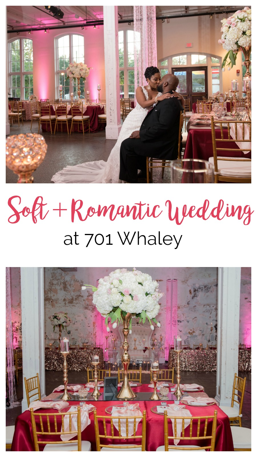 India and Eric: Soft, Romantic Fête at 701 Whaley, Columbia, South Carolina | Palmetto State Weddings | Sunshine's Photography | pink and red wedding | romantic wedding inspiration | loft wedding