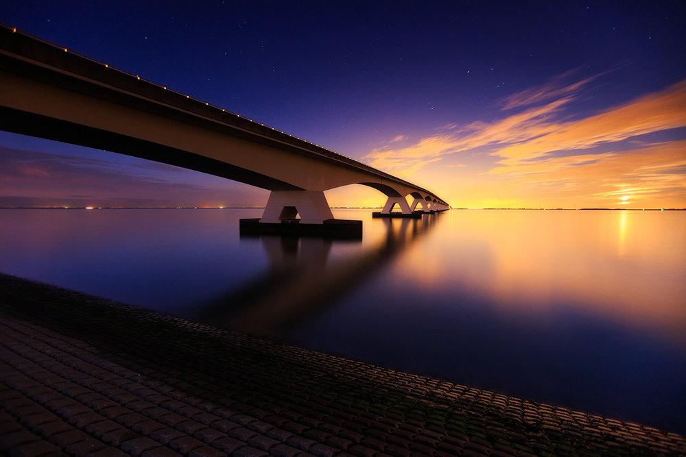 Endless bridge (Zeeland bridge, The Netherlands)