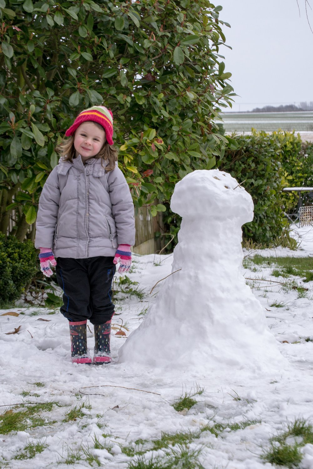 Sophia's rather unfortunately shaped snowman