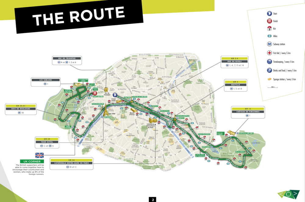 Route of the Paris Marathon, marked in miles and kilometres.