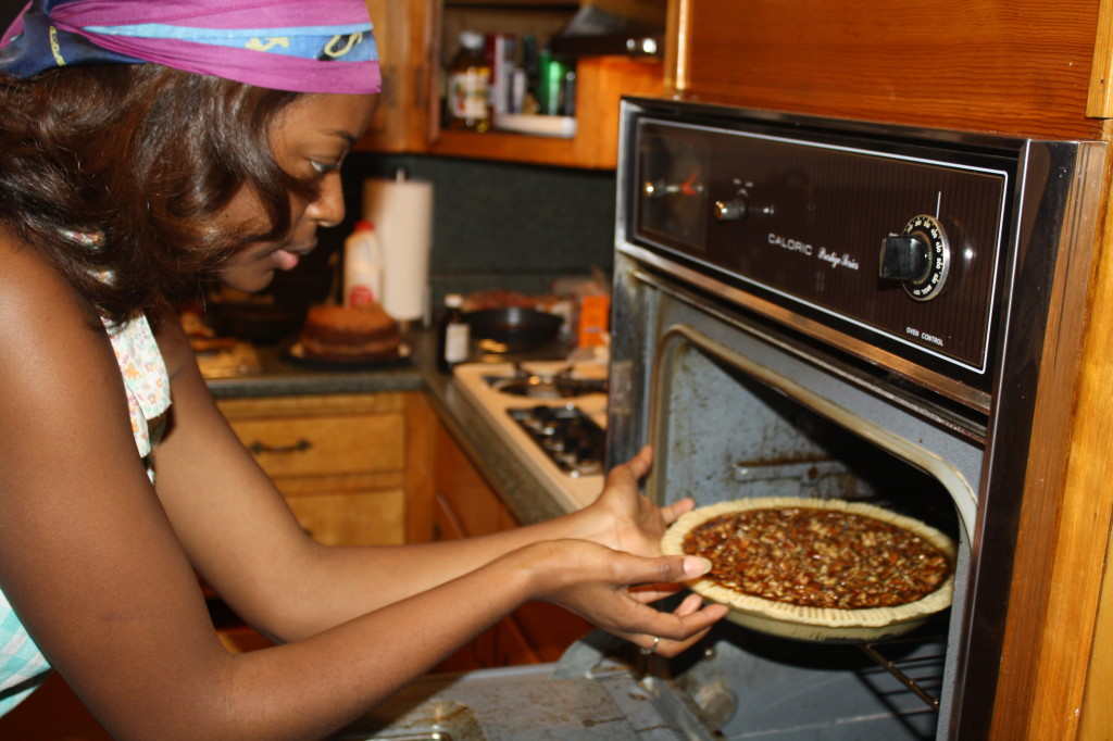 Baking the Bourbon Pecan Pie