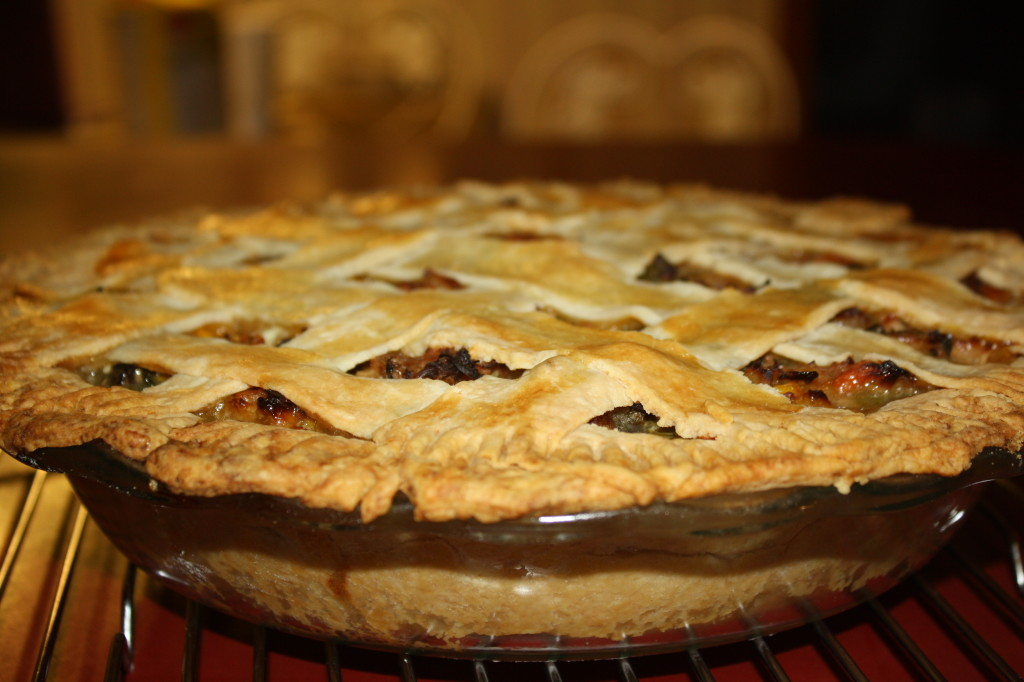 The pie is ready when the crust is golden brown and the filling is bubbling over.