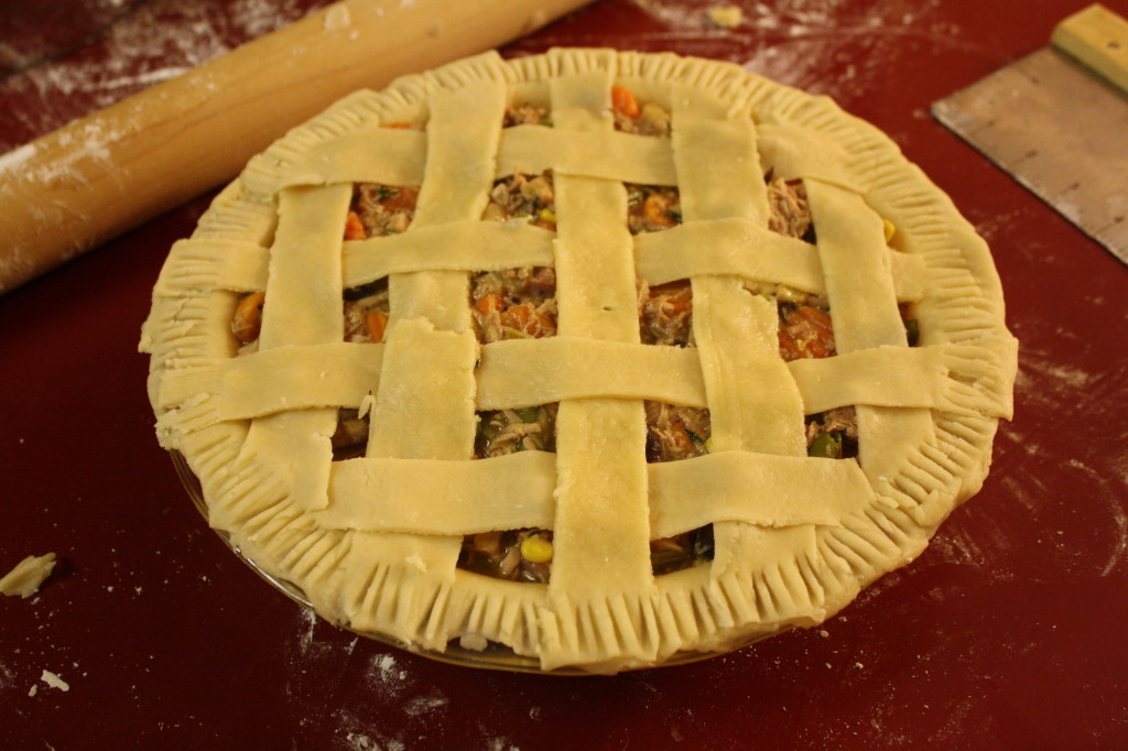 Turkey pot pie with lattice crust
