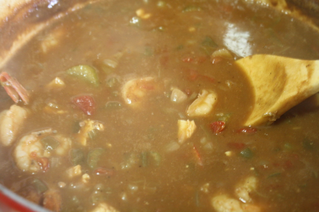 Your gumbo is ready to serve over rice! (Of course, you can sub out rice for a healthier grain like quinoa)