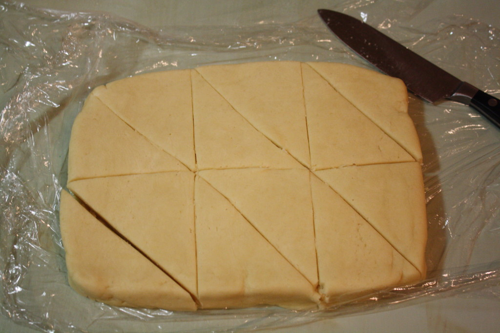 Cut the dough into 12 triangles.  Then, freeze until solid.