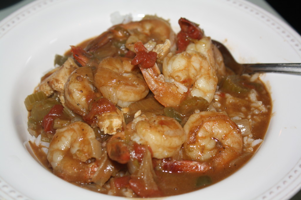 Homemade Gumbo with Gulf Shrimp