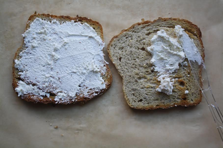 multigrain toast with ricotta
