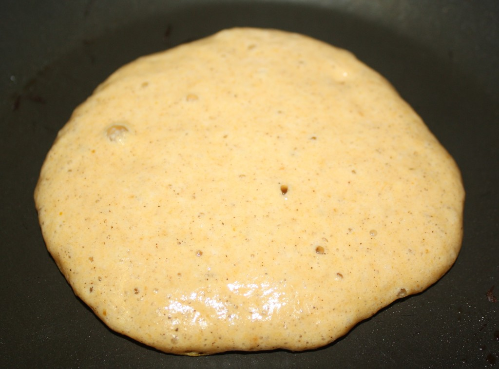 Add 1/3 cup batter to a hot griddle. Once bubbles form, flip the pancake.