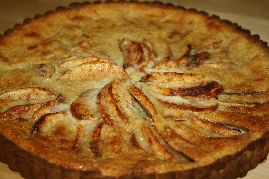The tart is done when the custard is set and a toothpick inserted comes out clean.