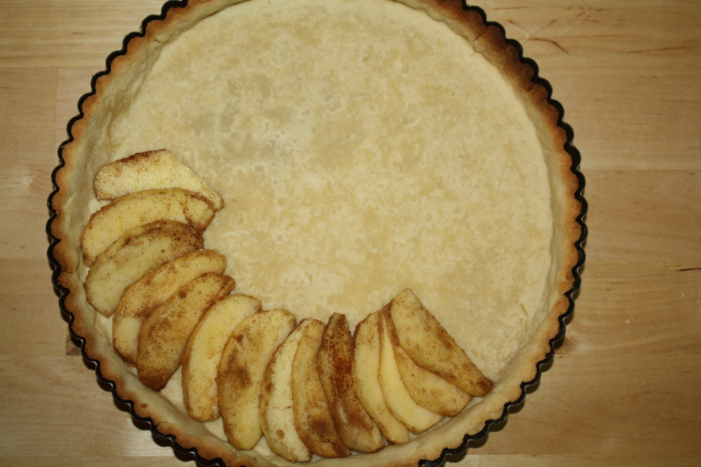Arrange the apple wedges in a par-baked tart crust