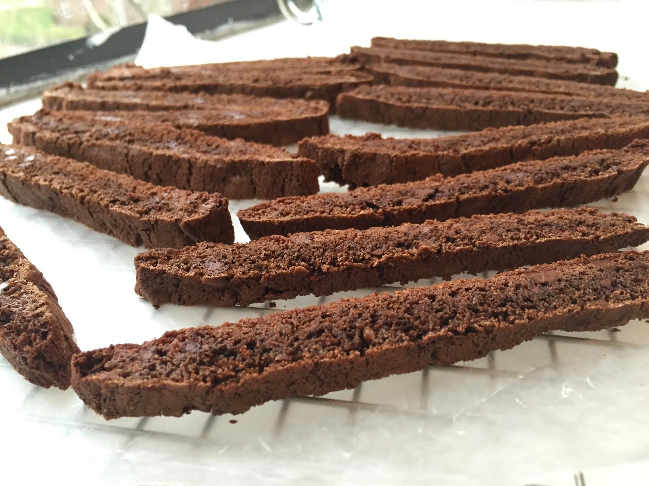 Homemade chocolate biscotti