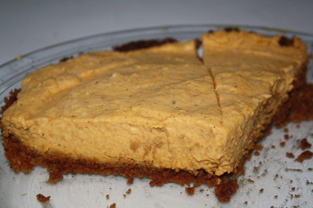 pumpkin white chocolate mousse pie with gingersnap crust