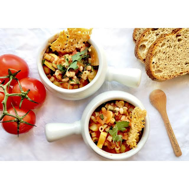 Tomate Minestrone with Parmesan Crisps