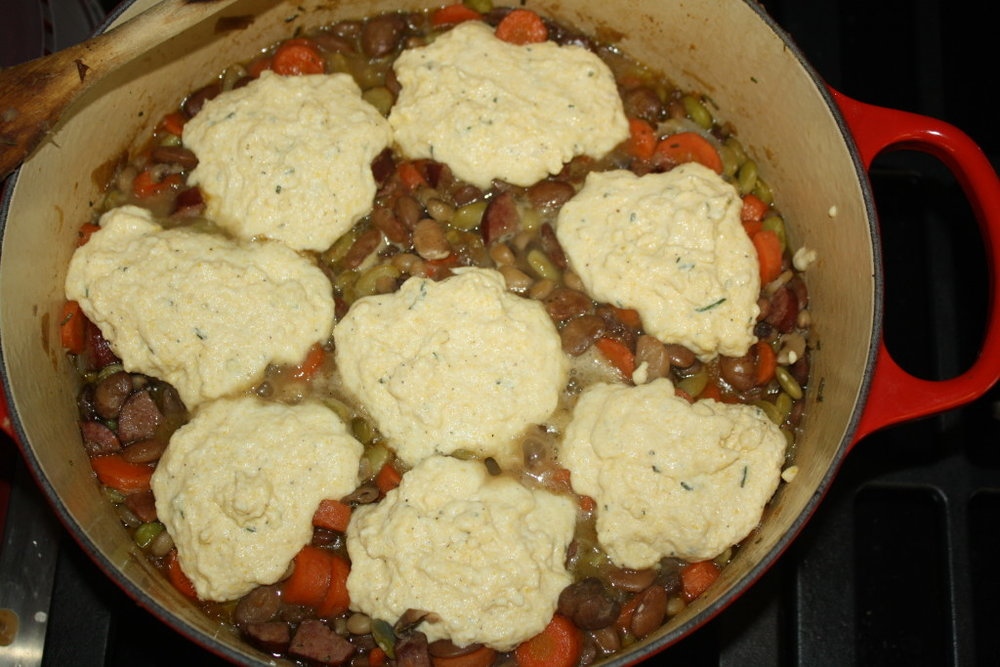 cassoulet with cornmeal dumplings