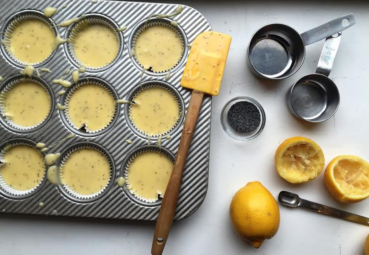 making lemon poppy seed muffins